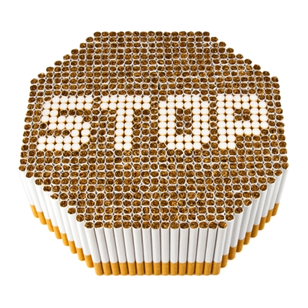 Cigarettes spelling out STOP