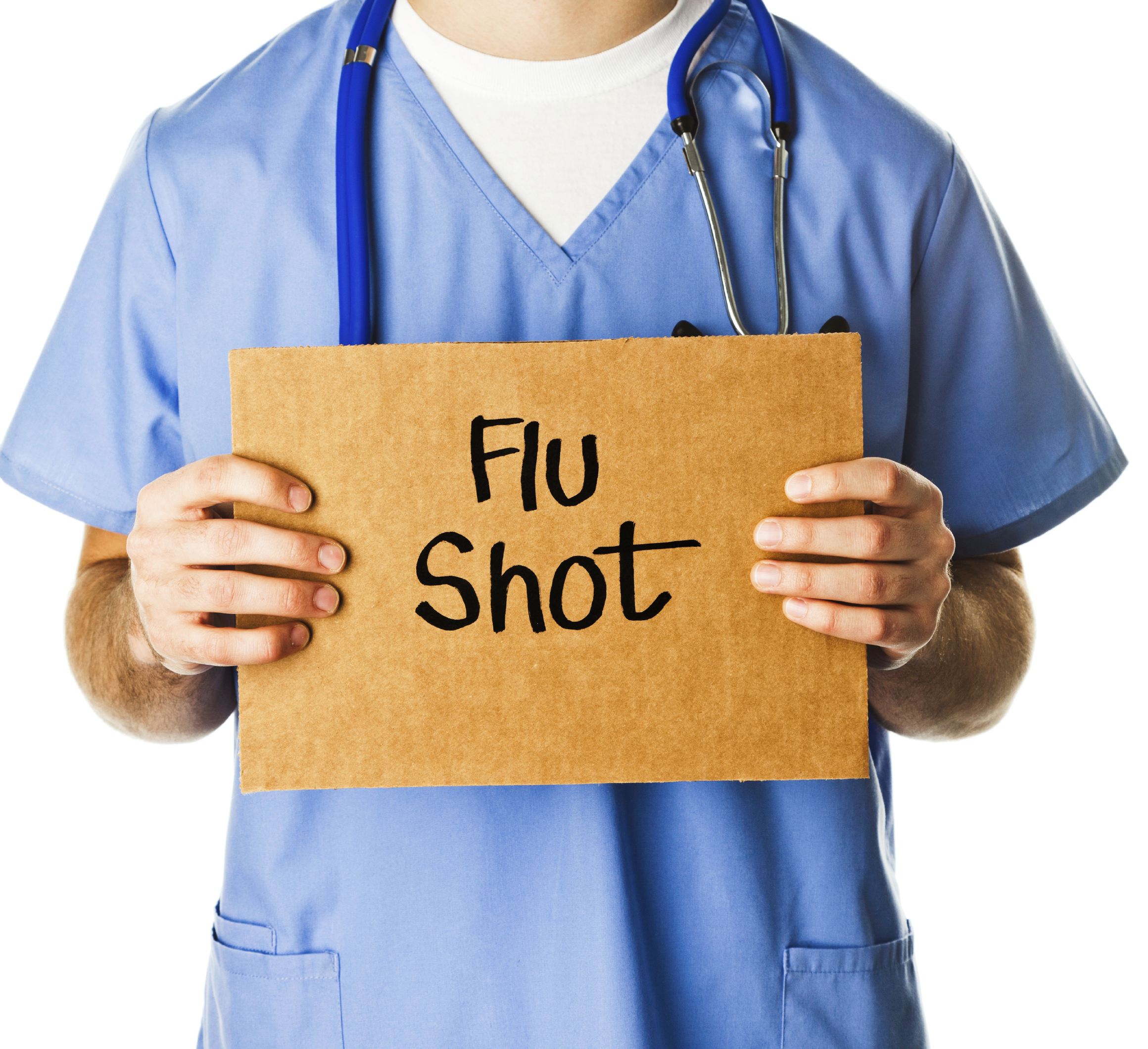 Doctor with Sign Reading Flu Shot