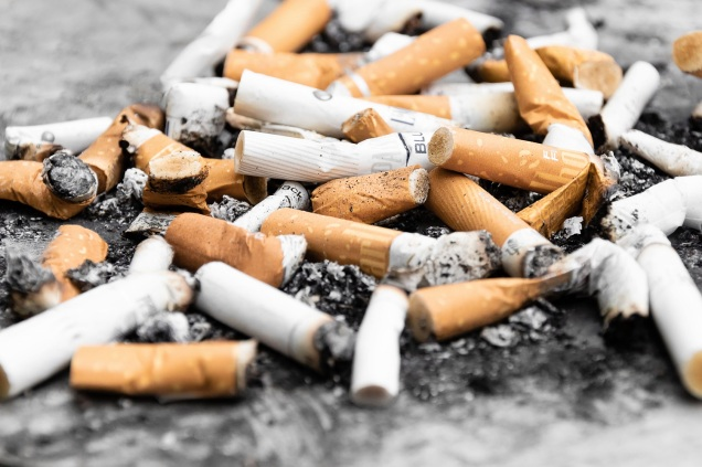 Pile of used cigarettes